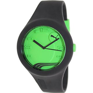 Puma Men's Form PU103001010 Black Rubber Analog Quartz Watch with Green Dial