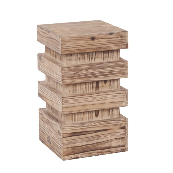 Stepped Natural Wood Small Pedestal