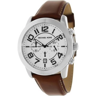 Michael Kors Men's Mercer MK8323 Brown Leather Quartz Watch with White Dial
