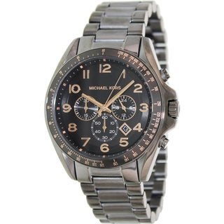Michael Kors Men's MK8255 Grey Stainless Steel Quartz Watch with Black Dial