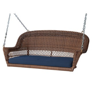 Honey Resin Wicker Porch Swing with Cushions