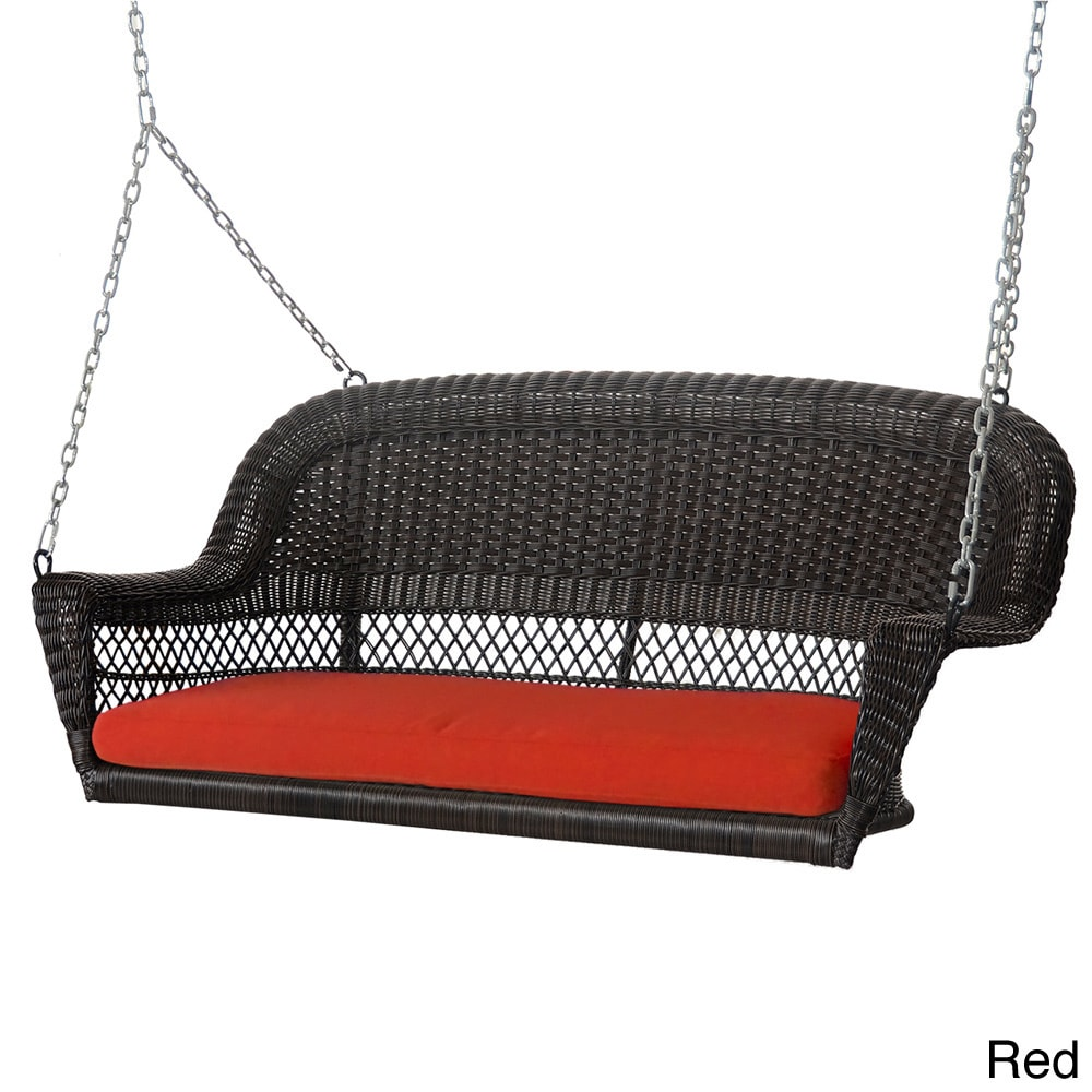jeco Espresso Resin Wicker Porch Swing with Cushions at Sears.com