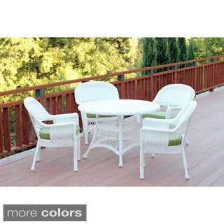 White Wicker 5-piece Cushioned Outdoor Dining Set