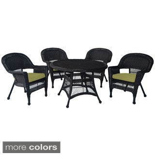 Espresso Wicker 5-piece Cushioned Outdoor Dining Set