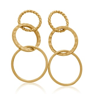 Gioelli 10k Yellow Gold Diamond Cut Round Dangle Earrings