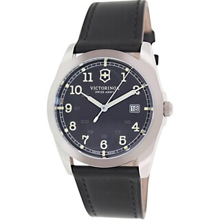 Victorinox Swiss Army Men's Infantry 241584 Black Leather Swiss Quartz Watch with Black Dial