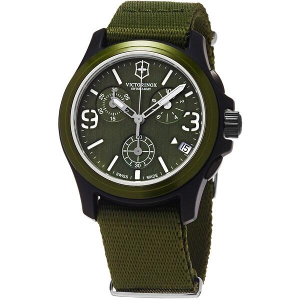 Victorinox Swiss Army Men's Original 241531 Green Cloth Swiss Quartz Watch with Green Dial
