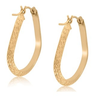 Gioelli 10k Yellow Gold Diamond Cut Hoop Earrings