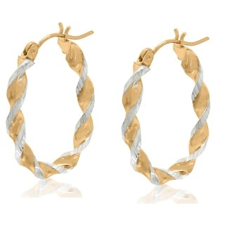 Gioelli 10k Two-tone Gold Diamond Cut Twisted Oval Hoop Earrings