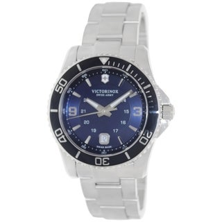 Victorinox Swiss Army Men's Maverick Gs 241602 Silvertone Stainless Steel Swiss Quartz Watch with Blue D