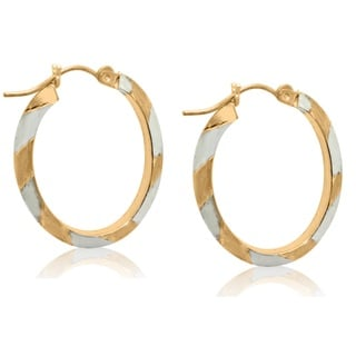 Gioelli 10k Two-tone Gold Diamond-cut Oval Hoop Earrings