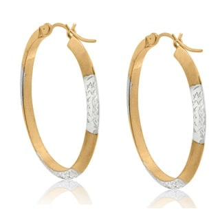 Gioelli 10k Two-tone Gold Diamond Cut Oval Hoop Earrings