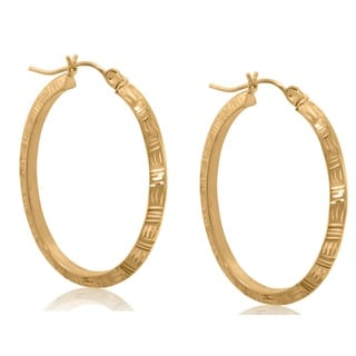 Gioelli 10k Yellow Gold Diamond Cut Oval Hoop Earrings