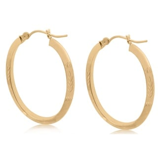 Gioelli 10k Yellow Gold Diamond-cut Large Oval Hoop Earrings