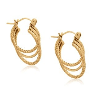 Gioelli 10k Yellow Gold Textured Triple Hoop Earrings