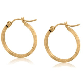 Gioelli 10k Yellow Gold Diamond-cut Hoop Earrings