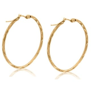 Gioelli 10k Yellow Gold Diamond-cut Oval Hoop Earrings