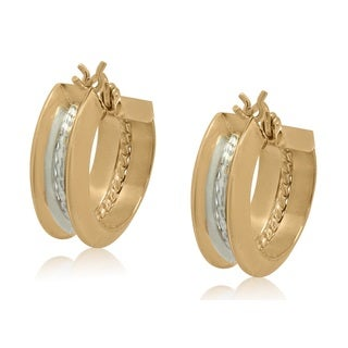 Gioelli 10k Two-tone Gold Round Hoop Earrings