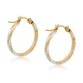 Gioelli 10k Two-tone Gold Diamond-cut Two-tone Earrings