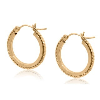 Gioelli 10k Yellow Gold Textured Round Hoop Earrings
