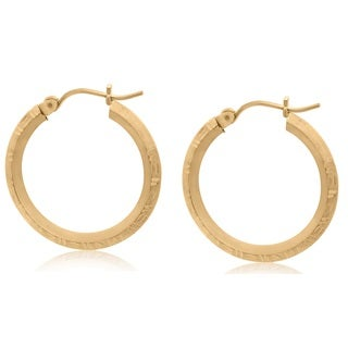 Gioelli 10k Yellow Gold Diamond-cut Round Hoop Earrings