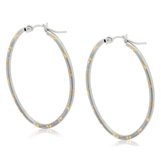 Gioelli 10k Two-tone Gold Diamond-cut Designer Oval Hoop Earrings