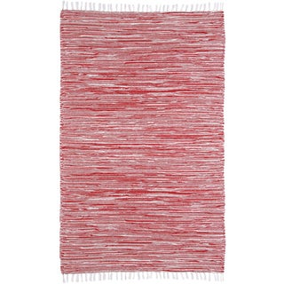 Red Reversible Chenille Flat Weave Area Rug (9' x 12')