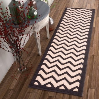 Modern Chevron Zigzag Stripe Carved Effect Black, Beige, and Ivory Runner Rug (2' x 7'3)