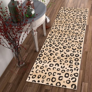 Leopard Animal Prints Black Well-woven Runner Rug (2' x 7'3)