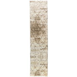 Moroccan Lattice Shag Vanilla Runner Well-woven Area Rug (2' x 7'2)