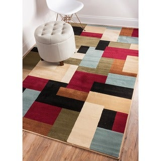 Patchwork Geometric Modern Red Well-woven Area Rug (9'3 x 12'6)