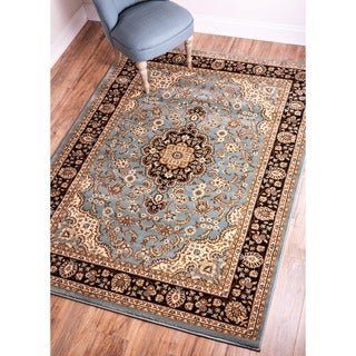Medallion Traditional Light Blue Area Rug (5'3 x 7'3)