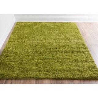 Plain Solid Shag Green Well-woven Area Rug (6'7 x 9'10)
