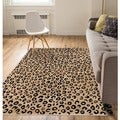 Leopard Print Black Ivory Well Woven Area Rug (5' x 7'2)