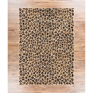 Leopard Animal Prints Black Well-woven Rug (2'7 x 3'11)