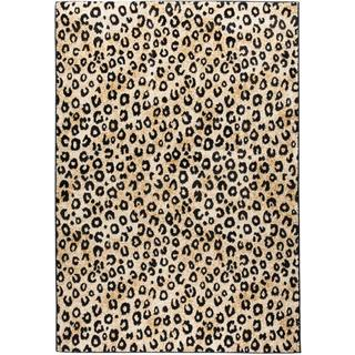 Leopard Animal Prints Black Well-woven Rug (6'7 x 9'3)