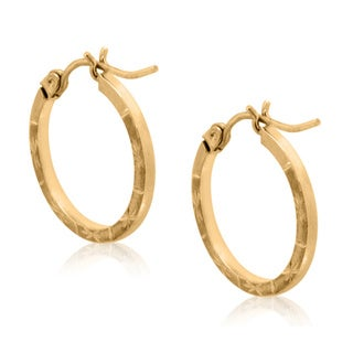 Gioelli 10k Yellow Gold Diamond-cut Designer Hoop Earrings