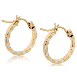 Gioelli 10k Two-tone Gold Diamond-cut Round Hoop Earrings