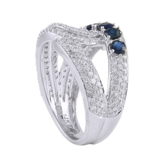 Beverly Hills Charm 14k White Gold 1ct TDW Diamond/ Blue Sapphire Ring (H-I, I2-I3)
