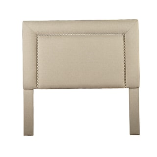 Christopher Knight Home St Kitts Queen/ Full-size Beige/ Tan Hex Stich Upholstered Nailhead Trim Square Headboard