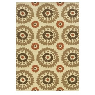 Oh! Home Le Soleil Collection Ivory/ Rust Burst Outdoor Rug (2' x 3')