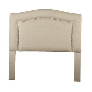 Christopher Knight Home St Kitts Queen/ Full-size Beige/ Tan Hex Stich Upholstered Nailhead Trim Arch Headboard