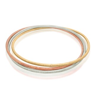 Gioelli 10k Tri-color Gold Diamond-cut Triple Bangle