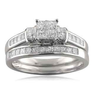 14k White Gold 1 1/10ct TDW Princess-cut Invisible-set Diamond Bridal Set (G-H, I1-I2)