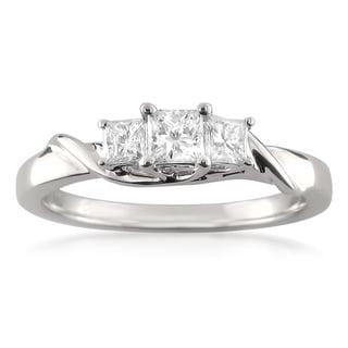 14k White Gold 1/2ct TDW Princess-cut Diamond Ring (H-I, I1-I2)