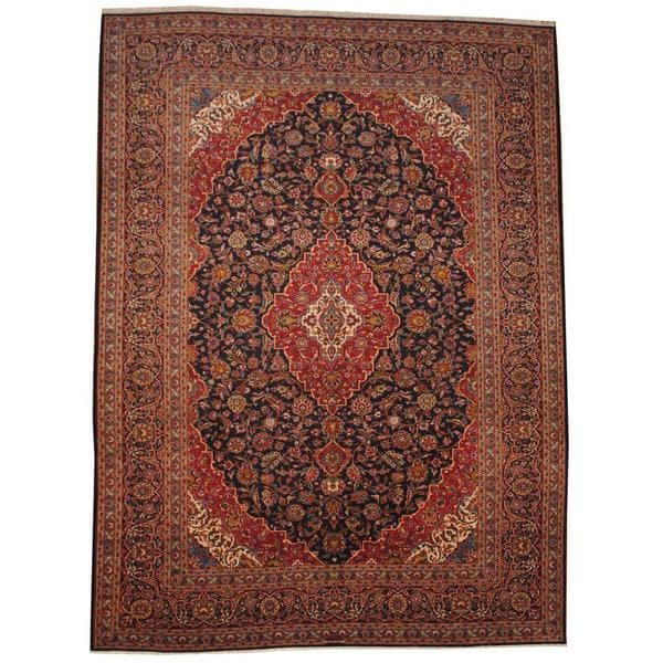 Herat Oriental Signature Semi-antique 1950's Persian Hand-knotted Kashan Navy/ Red Wool Rug (9'9 x 13'1) 13262336