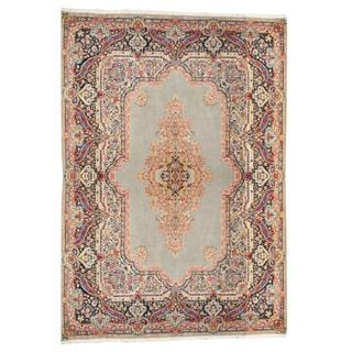 Herat Oriental Semi-antique 1950's Persian Hand-knotted Kirman Light Blue/ Navy Wool Rug (9'8 x 13'7)