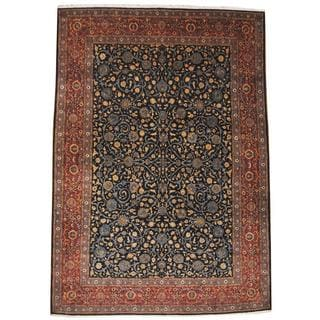 Herat Oriental Semi-antique 1950's Persian Hand-knotted Kashan Navy/ Rust Wool Rug (9'4 x 13'6)
