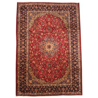 Herat Oriental Semi-antique 1960's Persian Hand-knotted Isfahan Red/ Navy Wool Rug (10'1 x 14'7)