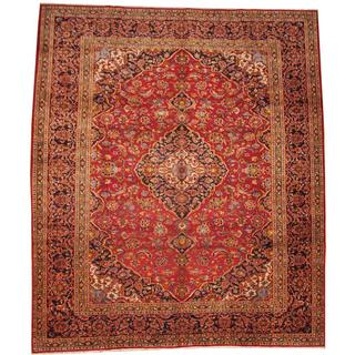 Herat Oriental Semi-antique 1960's Persian Hand-knotted Kashan Red/ Navy Wool Rug (10'1 x 12'1)